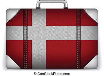 Denmark Travel Luggage with Flag for Vacation - Vector -...