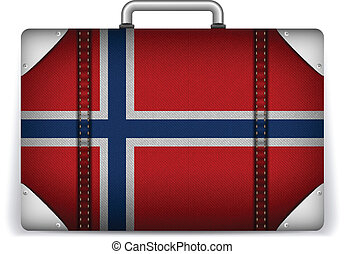 Norway Travel Luggage with Flag for Vacation - Vector -...