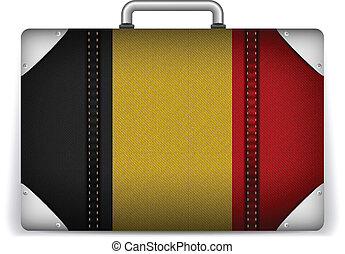 Belgium Travel Luggage with Flag for Vacation - Vector -...