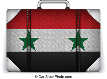Syria Travel Luggage with Flag for Vacation - Vector - Syria...