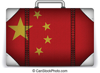 China Travel Luggage with Flag for Vacation - Vector - China...