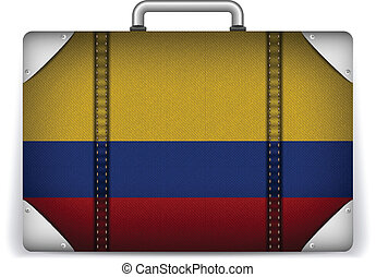 Colombia Travel Luggage with Flag for Vacation - Vector -...
