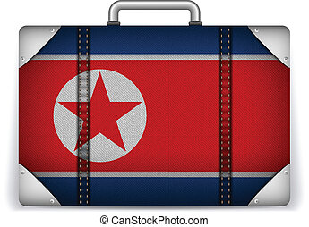 North Korea Travel Luggage with Flag for Vacation - Vector -...