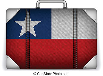 Chile Travel Luggage with Flag for Vacation - Vector - Chile...