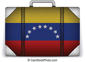 Venezuela Travel Luggage with Flag for Vacation - Vector -...