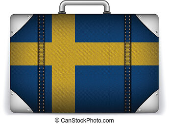 Sweden Travel Luggage with Flag for Vacation - Vector -...