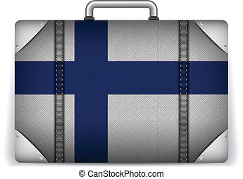 Finland Travel Luggage with Flag for Vacation - Vector -...