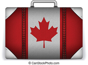 Canada Travel Luggage with Flag for Vacation - Vector -...