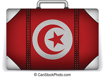 Tunisia Travel Luggage with Flag for Vacation - Vector -...