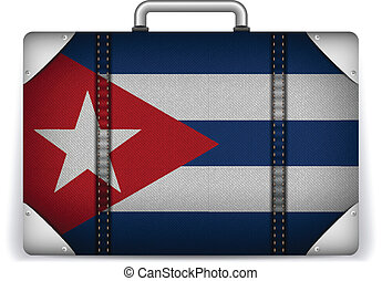 Cuba Travel Luggage with Flag for Vacation - Vector - Cuba...