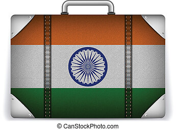 India Travel Luggage with Flag for Vacation - Vector - India...