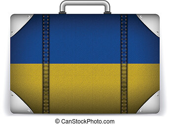 Ukraine Travel Luggage with Flag for Vacation - Vector -...