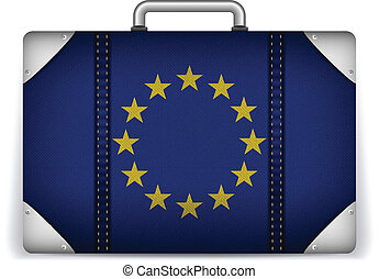 Europe Travel Luggage with Flag for Vacation - Vector -...