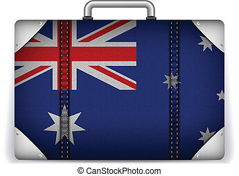 Australia Travel Luggage with Flag for Vacation - Vector -...