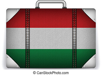 Hungary Travel Luggage with Flag for Vacation - Vector -...