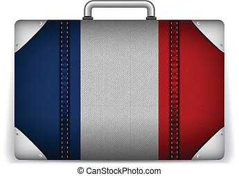 France Travel Luggage with Flag for Vacation - Vector -...