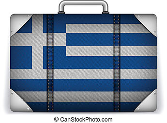 Greece Travel Luggage with Flag for Vacation - Vector -...