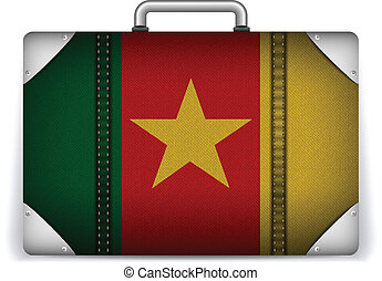 Cameroon Travel Luggage with Flag for Vacation - Vector -...