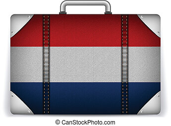 Netherlands Travel Luggage with Flag for Vacation - Vector -...