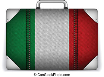 Italy Travel Luggage with Flag for Vacation - Vector - Italy...