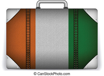 Ireland Travel Luggage with Flag for Vacation - Vector -...