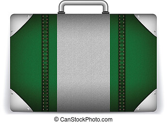 Nigeria Travel Luggage with Flag for Vacation - Vector -...