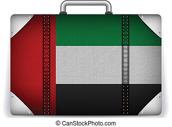 Emirates Travel Luggage with Flag for Vacation - Vector -...