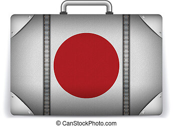 Japan Travel Luggage with Flag for Vacation - Vector - Japan...