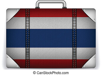 Thailand Travel Luggage with Flag for Vacation - Vector -...