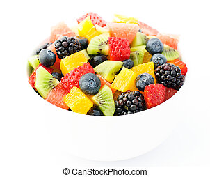 Fresh fruit salad mix in white bowl
