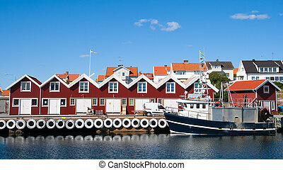Swedish fishing town - Small marina at the Swedish fishing...