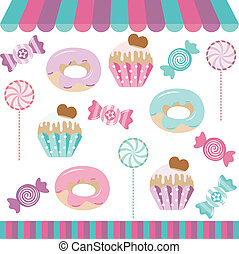 Candy Shop Digital Collage - Scalable vectorial image...