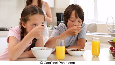 Brother and sister eating cereal together at home in the...