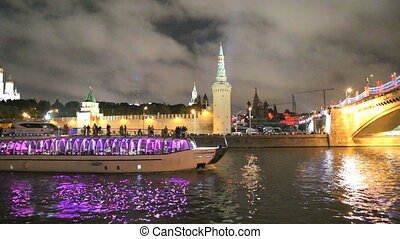 Night view, Russia, Moscow - Night view of the Kremlin and...