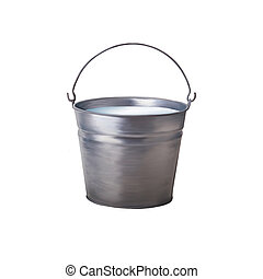 Metallic bucket with milk isolated on white background