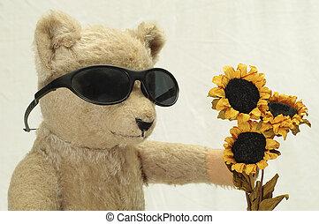 Cool Teddy Brings Flowers - Vintage Teddy Bear and Flowers