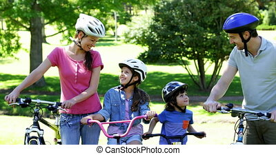 Happy family on a bike ride in the park together on a sunny...