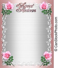 Sweet Sixteen Invitation Pink Satin - Image and illustration...