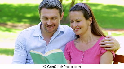 Couple sitting on a park bench reading together on a sunny...