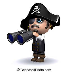 3d Pirate search - 3d render of a pirate with binoculars