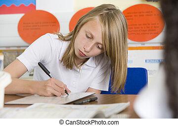écolière, étudier, classe