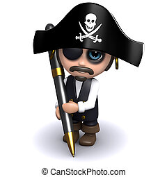 3d Pirate writes - 3d render of a pirate with a pen
