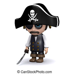 3d Sad pirate - 3d render of a sad pirate