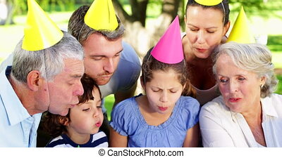 Family celebrating little girls birthday in the park on a...