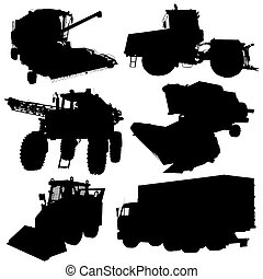 Agricultural vehicles silhouettes set Vector illustration