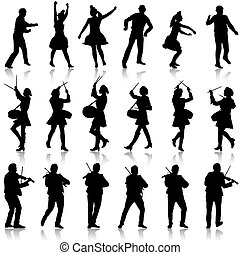 Black silhouettes of beautiful mans and womans. Drummer,...