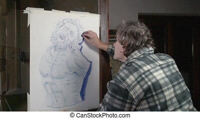 art pastel sketch - artist making a pastel drawing