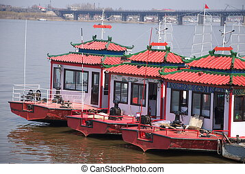 houseboat in a river in north China