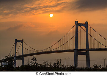 Bridge sunset at Da nang, Vietnam
