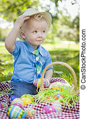 Cute Little Boy Outside Holding Easter Eggs Tips His Hat -...